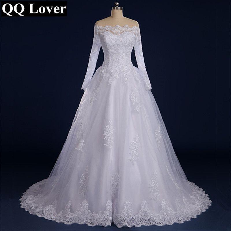 QQ Lover Vestido De Noiva Beaded Appliqued Long Sleeve Lace Wedding Dress 2018 Boat Neck
