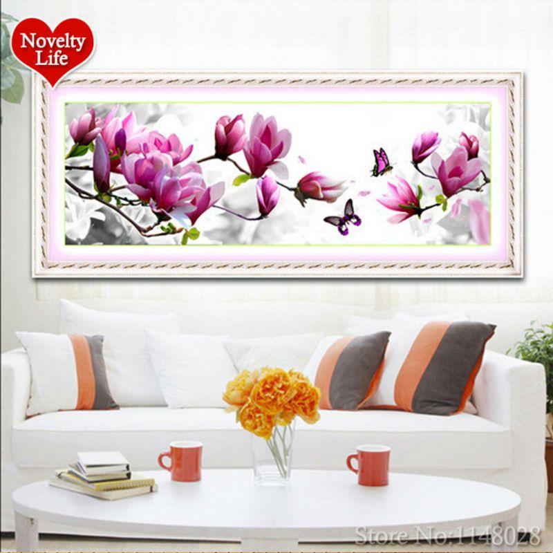 5D rond résine diamant peinture cristal Non complet broderie décor à la maison rose Magnolia motif fleurs bricolage point de croix couture