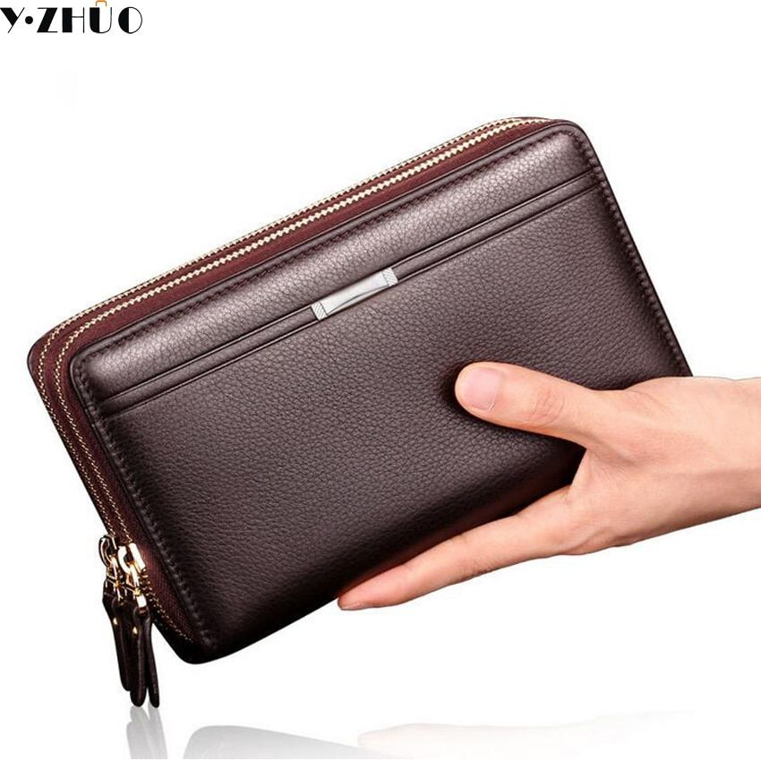 Business Long Men Wallets PU Leather Clutch Purse Men Handy Bag Carteira Masculina Brown Black Double Zipper Large Wallet