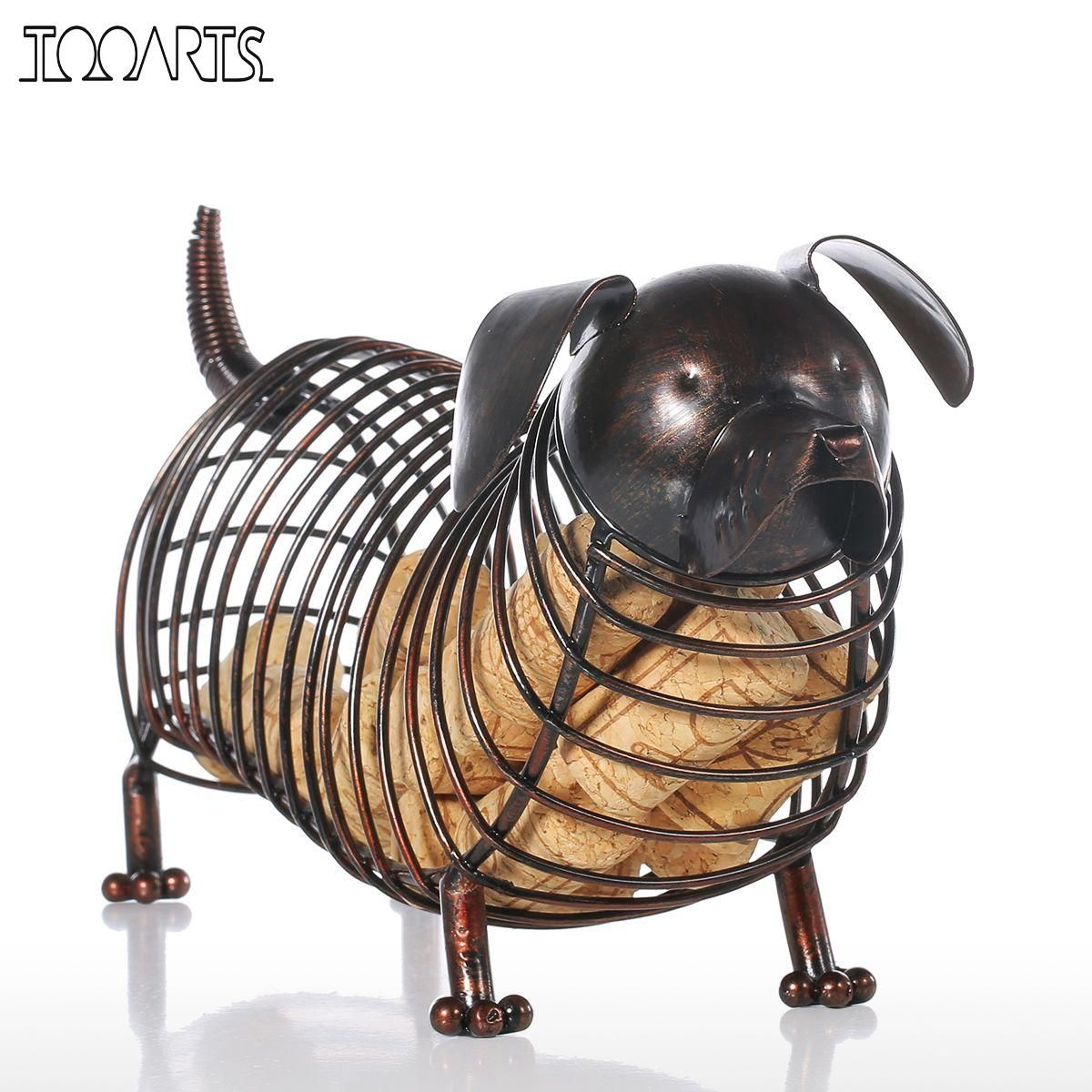 Tooarts Metal Animal Figurines Dachshund Wine Cork Container <font><b>Modern</b></font> Artificial Iron Craft Home Decoration Accessories Gift