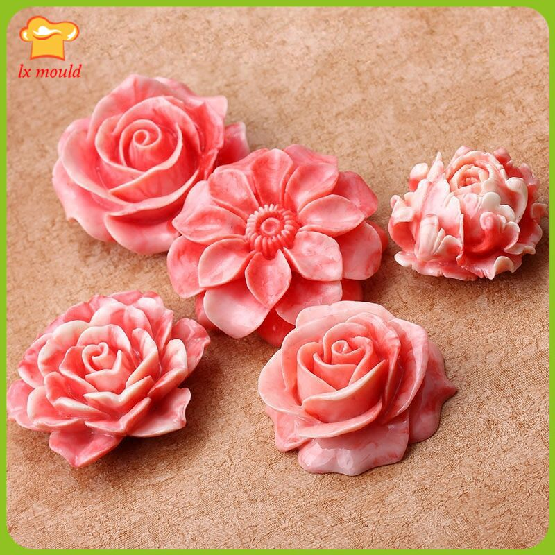 DIY Rose Camellia lotus bud Sunflower dry Pace mold fondant cake mold clay mold