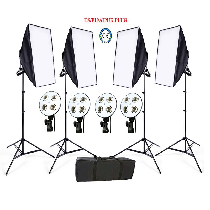 Russian Free Tax Photo Studio Softbox kit 4 light stand 4 light holder 4 softbox 1pc carrying bag video lighting kit soft box