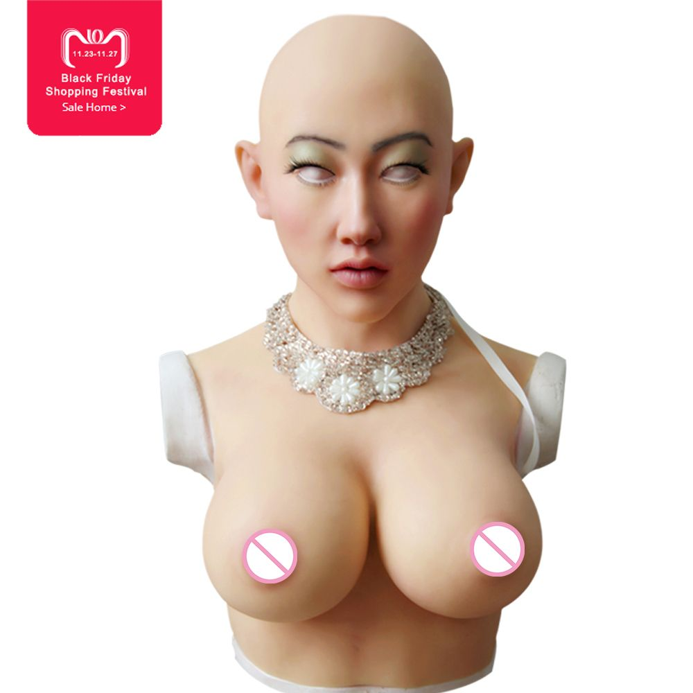 EYUNG Shivell mask with boobs artificial breast forms for crossdresser Halloween masquerade More feminine silicone female mask