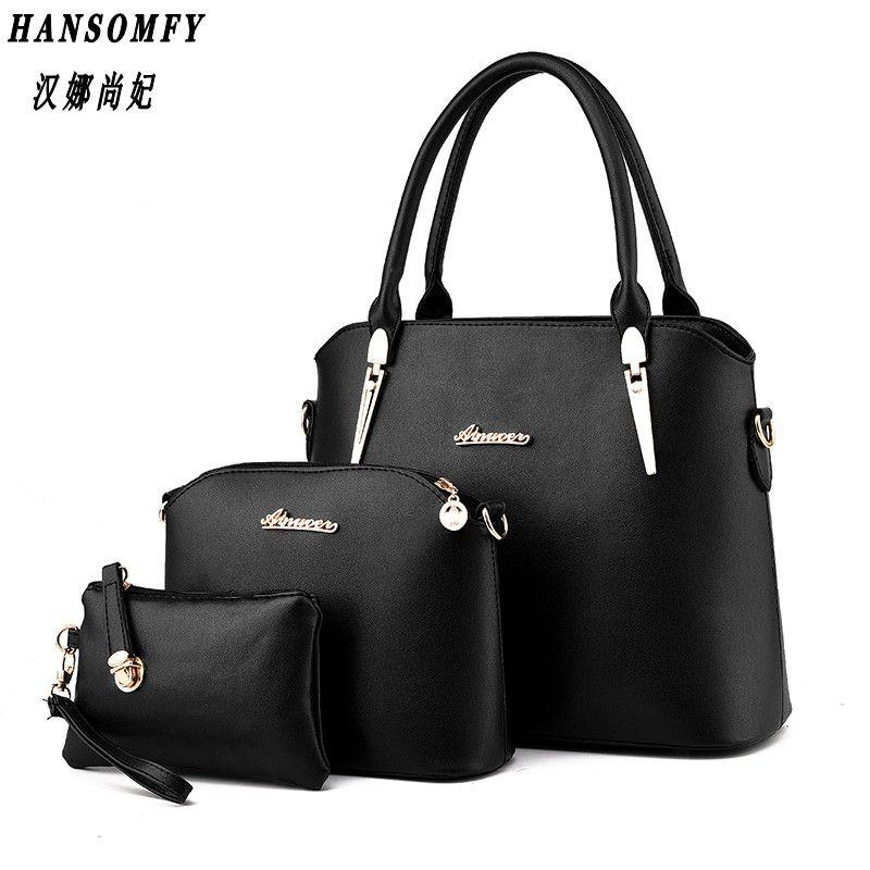 100% echtem leder Frauen handtasche 2019 Neue Drei stück typ mode Crossbody Schulter Handtasche frauen messenger bags