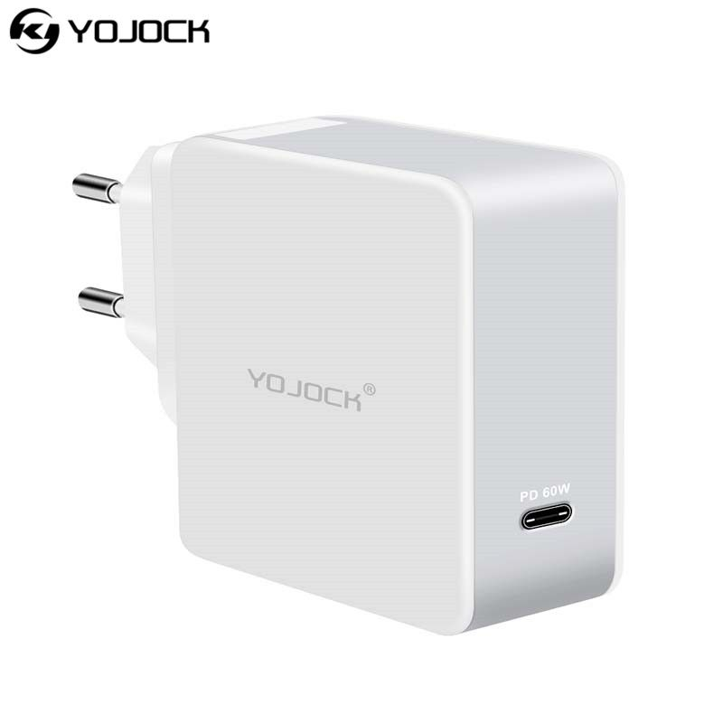 Yojock EU/AU/UK/US 60W PD Charger Type-C Power Delivery Wall Charger Portable Adapter for Nintendo Switch Macbook Pro Xiaomi Mi5