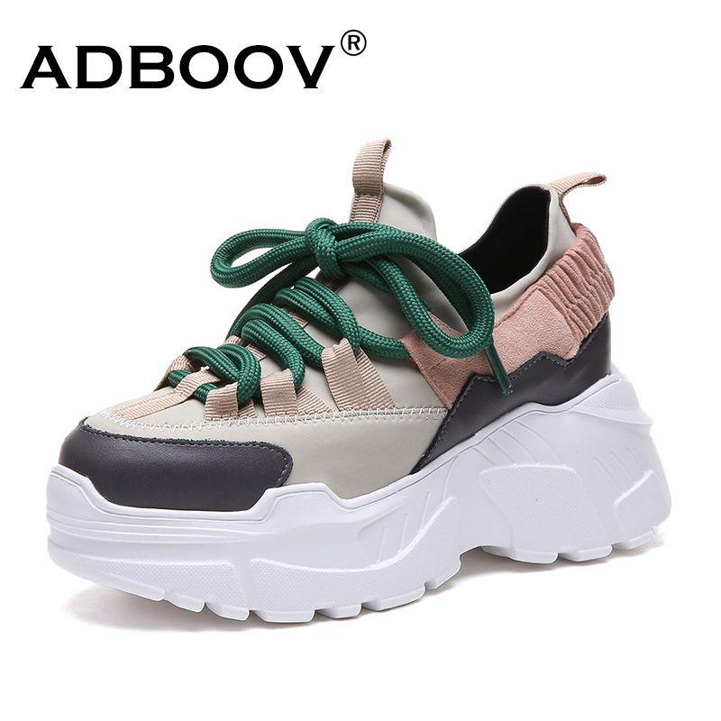ADBOOV Nouvelle Automne Hiver Plate-Forme Sneakers Femmes Hauteur Croissante 7 cm Chunky Chaussures Femme Plus La Taille 35-42 Dames wedge Chaussures