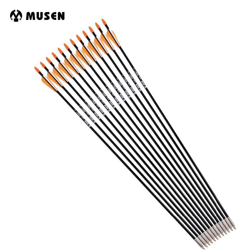 6/12/24/36 Pcs/lot 31 pouces fibre de verre flèche colonne vertébrale 700 Orange blanc plume pour arc classique arc Long pratique tir à l'arc chasse