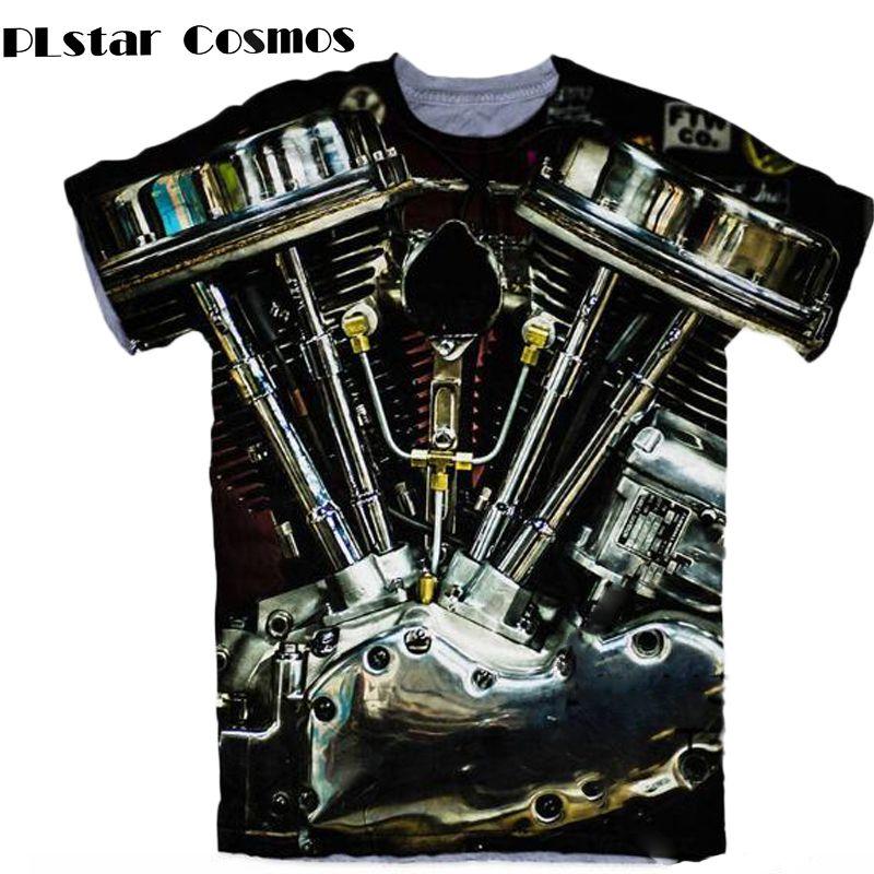 PLstar Cosmos Motorcycle Harley Engine 3D All Over Print T Shirts Hipster Short Sleeve Summer Street Wear Tee Men Women