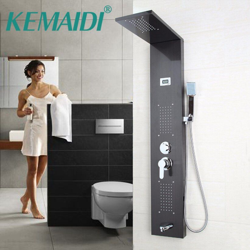 KEMAIDI Modern Wall Mounted One Handle +Handshower+Tub Spout+Massage System Shower Panel Bathroom Stainless Steel Shower Column