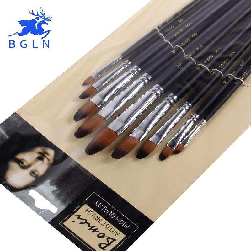 9 pcs/ensemble Nylon peinture à l'huile Brosse Ronde Peinture Brosse Pour Aquarelle, Huile, acrylique feutres brush pen pincel para pintura Art Fournitures 803