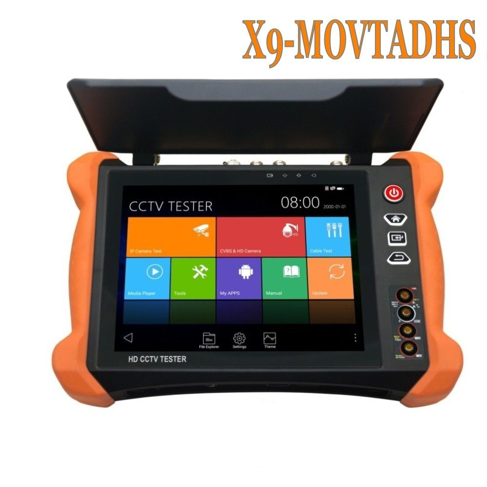 Wanglu Professional CCTV Tester Tools X9 8inch H.265 4K 8MP TVI CVI AHD SDI CVBS IP Camera Tester Monitor with TDR, Cable tracer