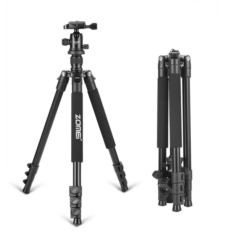Zomei Q555 professional aluminum flexible camera tripod stand with ball head for DSLR cameras portable