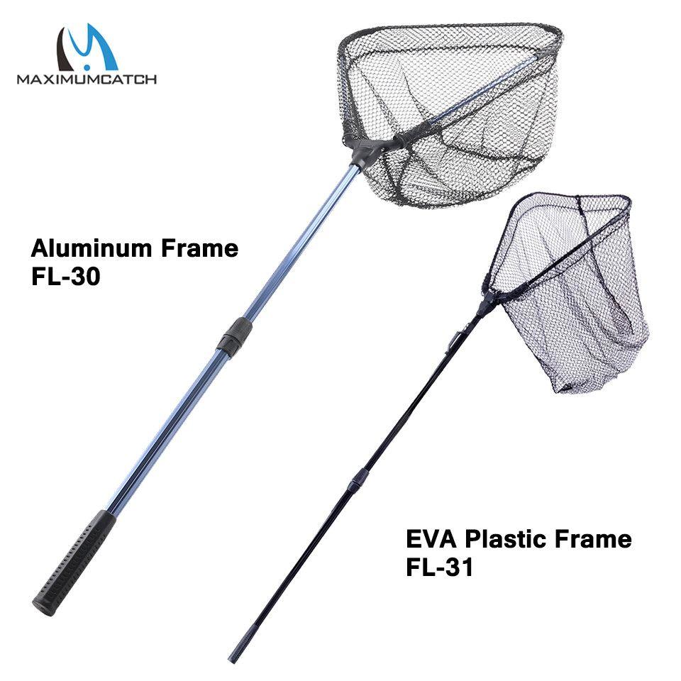 Maximumcatch Fishing Net Retractable Telescoping Aluminum Alloy/EVA Pole 113CM/162CM Foldable Fishing Brail Landing Net
