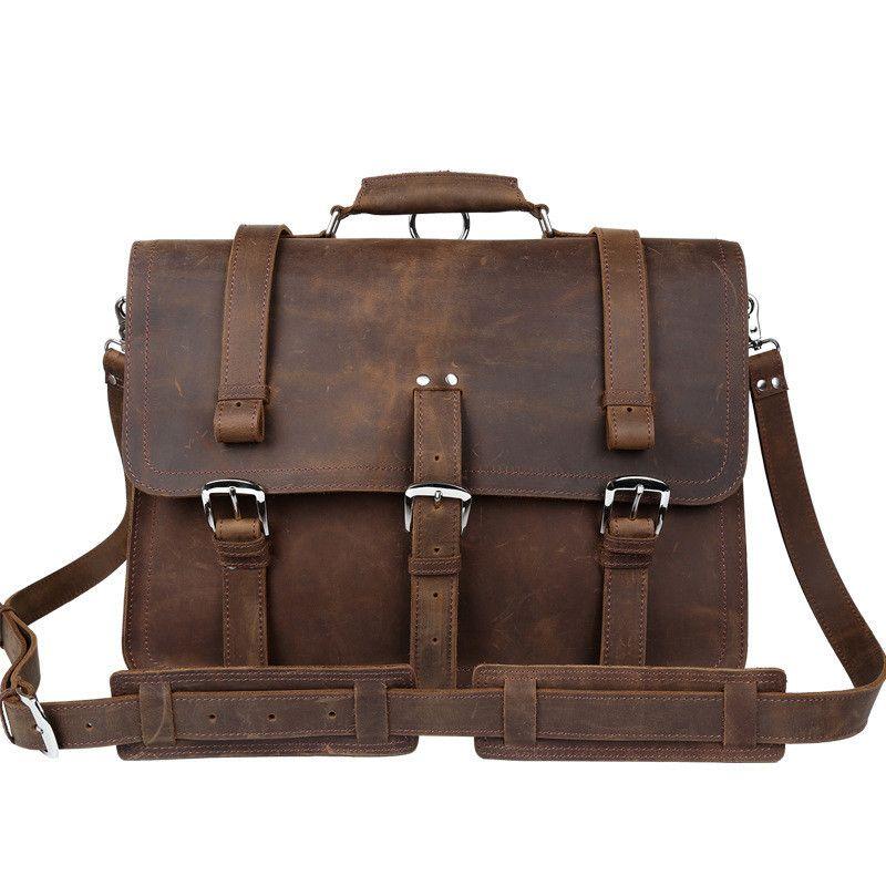 Men Briefcases Handbag Leather Laptop Bag Messenger Bags Shoulder Crossbody Bags Crazy Horse Genuine Leather Men Bag