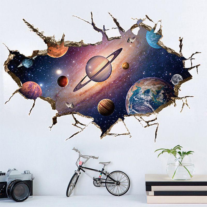 Amovible 3D Planète Mur Autocollant Imperméable En Vinyle Art Mural Autocollant Univers Étoiles Papier Peint Pour Chambre D'enfants Accueil Plafond Décor