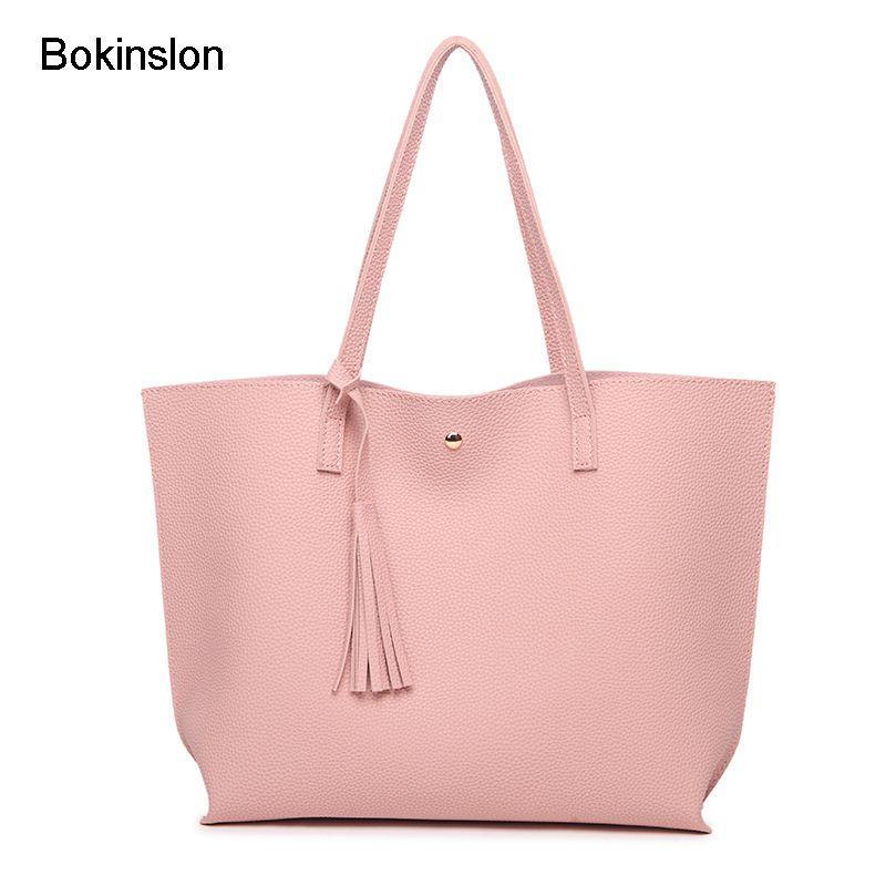 Bokinslon Tassel Handbags Woman PU Leather Large Capacity Female Shoulder Bags Solid Color <font><b>Practical</b></font> Women corssbody Bag