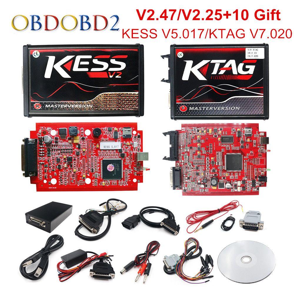 En ligne V2.47 EU rouge KESS V5.017 OBD2 gestionnaire Tuning KTAG V7.020 4 LED KESS V2 5.017 BDM cadre K-TAG V2.25 programmeur automatique ECU