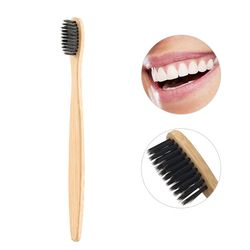 1pc Drop Ship Eco-Friendly Natural Bamboo Charcoal Toothbrush Soft Bristle Low Carbon Wooden Handle Portable Teeth Clean Brush