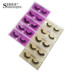 SHIDISHANGPIN 1 pair mink eyelashes natural long makeup false lash 3d mink lashes full strip lashes 1 pair eyelashes 1cm-1.5cm