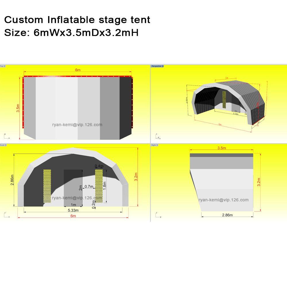 6mWx3. 5mDx3. 2mH custom aufblasbare bühne zelt abdeckung
