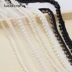 Lucia crafts 1 ярд/Лот Белый/черный кружево с декоративными бусами лента тканевая лента DIY воротник швейная одежда головной убор материалы N0301