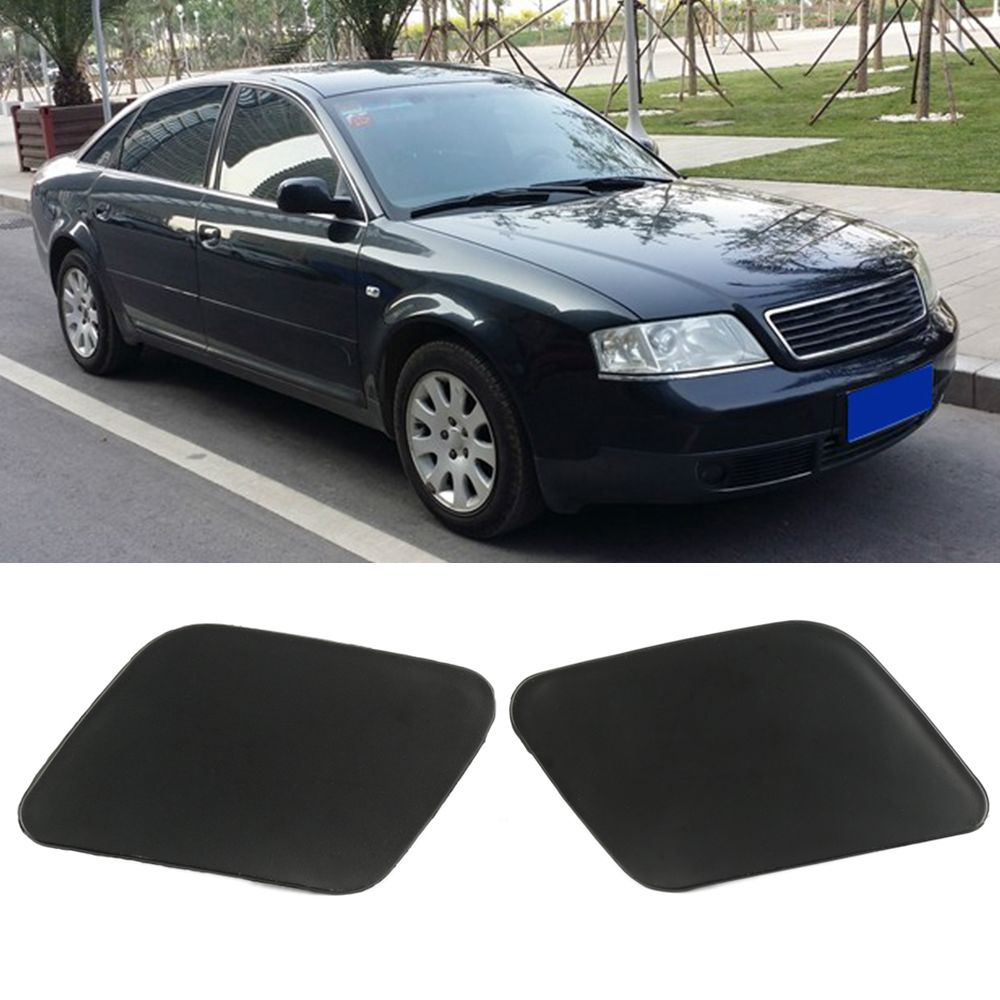 New 1 Pair Left & Right Headlight Washer Nozzle Cover Cap for Audi A6 C5 2002-2005 Plastic Black Covers Car Accessories