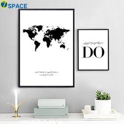 7-Space Carte Du Monde Toile Nordique Mur Art Toile Peinture Noir Et Blanc Impression Affiche Décoratif Photos Salon Salle D'étude