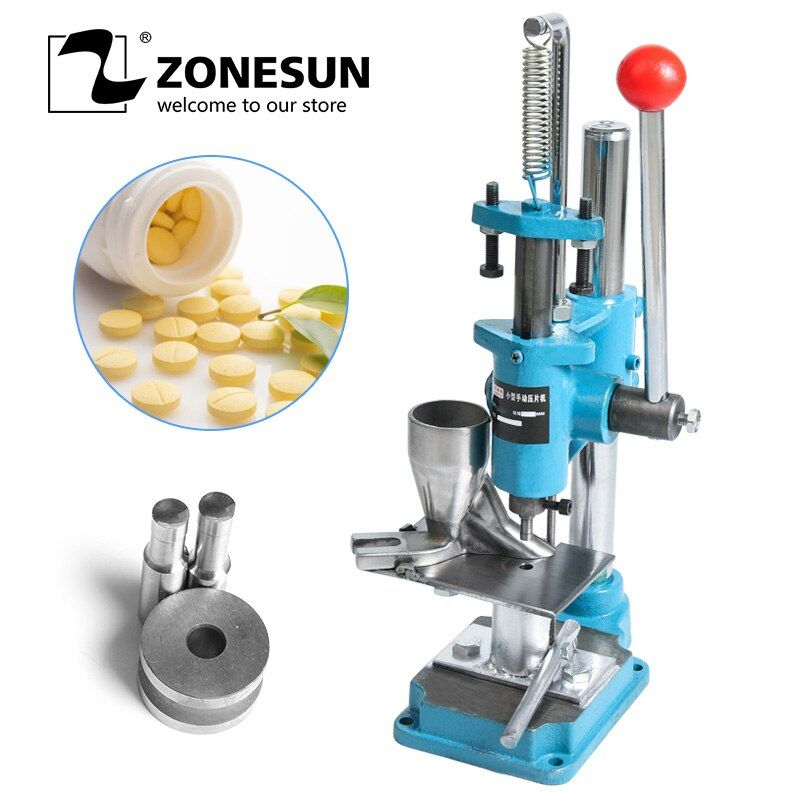 ZONESUN Sugar Tablet Mini Press Machine Lab Professional Tablet Manual Punching Machine Medicinal Making Device For Hot Sale