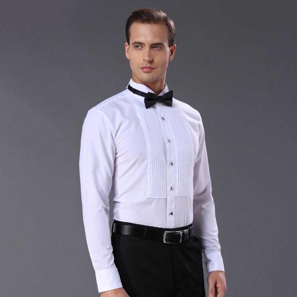 Nouveauté mode coton chemises pour hommes à manches longues couleur pure homme chemise de smoking DARO883 camisas hombre
