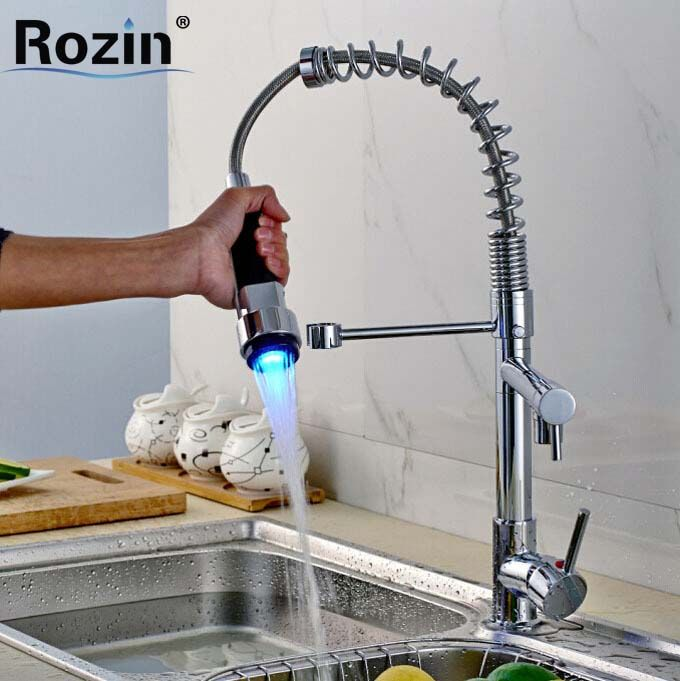 Luxury Dual Spout LED Color Light Kitchen Mixer Faucet Chrome Deck Mount Single Lever W/ Hot and Cold Hose