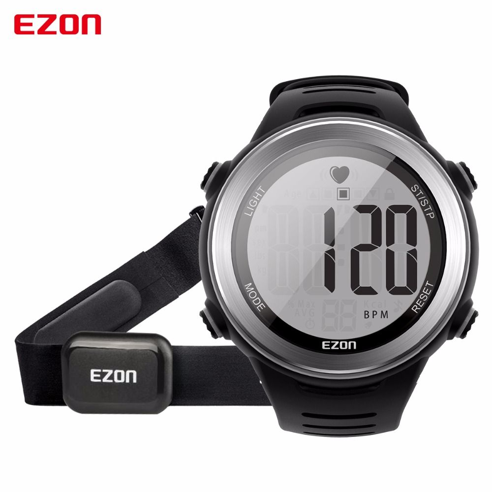 New Arrival EZON T007 Heart Rate Monitor Digital Watch Alarm Stopwatch Men Women Outdoor Running Sports Watches with Chest <font><b>Strap</b></font>