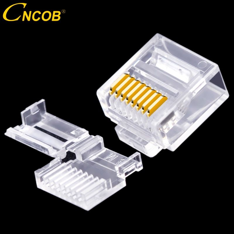 CNCOB Cat6 utp short body, two pieces, flat cable rj45 connector 8P8C modular network connector Ethernet computer plug 50pcs