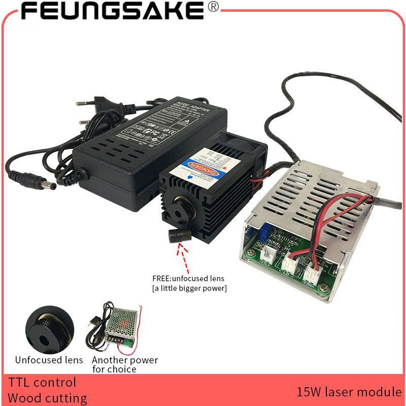 15 w laser modul TTL PMW control objektiv Fokussierbar Blau Laser 450nm für laser gravur maschine cnc holz schneiden maschine große power
