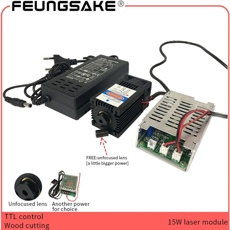 Laser 15W TTL control laser module Focusable Blue Laser Module 450nm with TTL Driver for laser engraving machine wood cutting