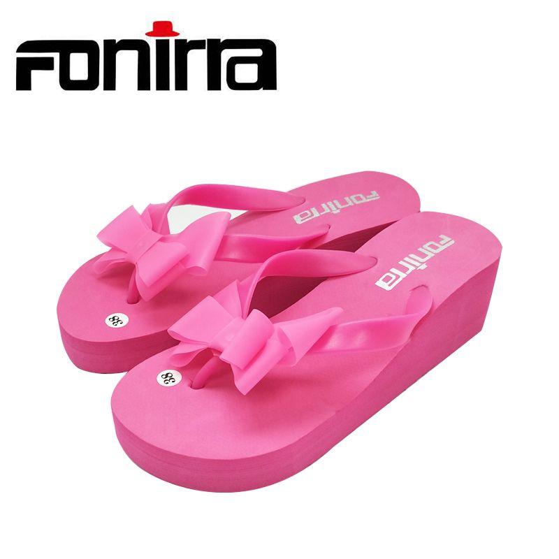 FONIRRA Mujeres Bownot Sandalias Chanclas Zapatos Sapato Feminino zapatos De Mujer Zapatillas de Playa Flip Flop Cuña Sandalias Mujer 124