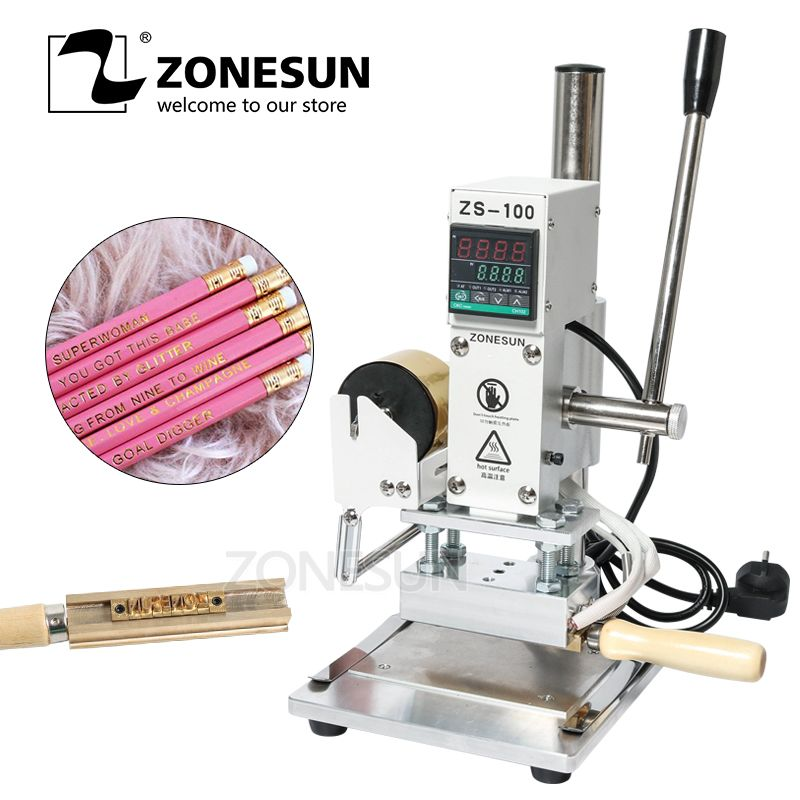 ZONESUN ZS-100A Individuelles Logo Heißer Folie Stanzen Maschine Manuelle Bronzing Maschine Für PVC Karte Leder Papier Bleistift Stanzen Maschine