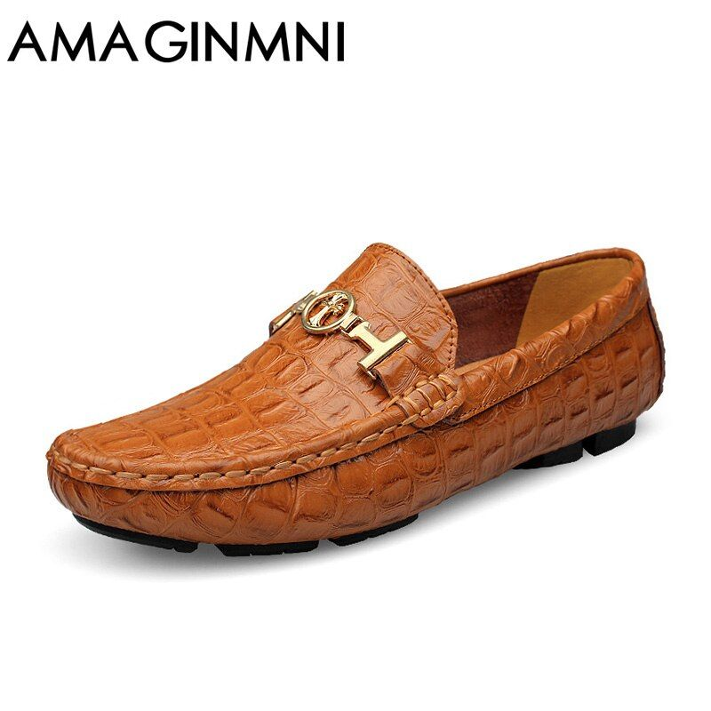 AMAGINMNI Brand Luxury shoes men Driving Breathable Genuine Leather Flats Loafers Men Shoes Casual Fashion Slip Large size 36-49
