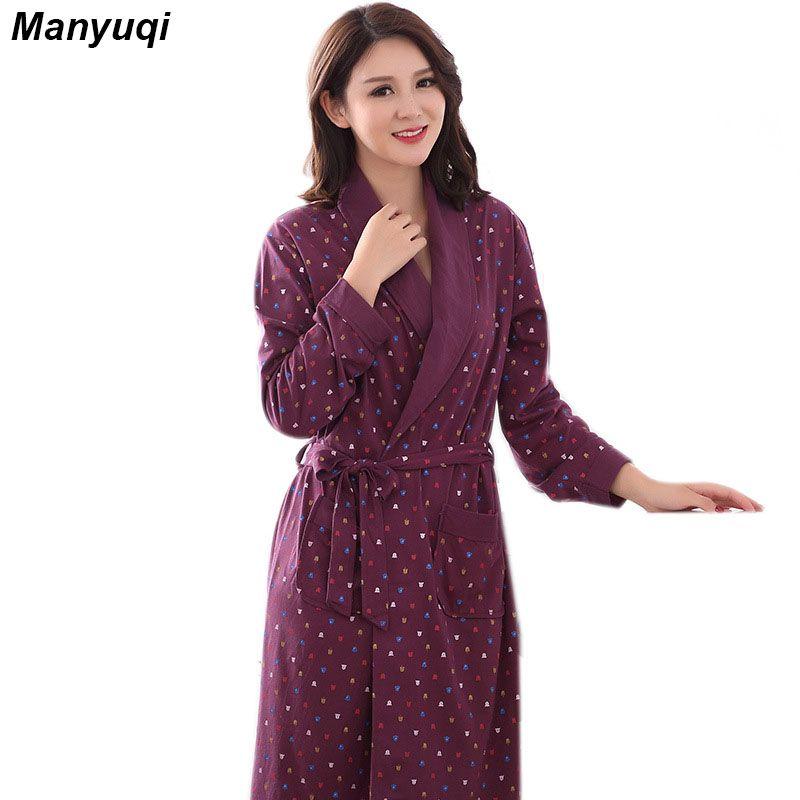 Femmes de coton caractère peignoir style simple chemise de nuit pour les femmes accueil vêtements de nuit femmes moyen long robe 6 couleurs