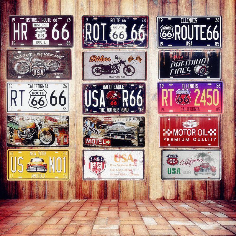 США Винтаж металлическая банка признаки ROUTE 66 номер автомобиля Номерные знаки для мотоциклов налет на e-mail Bar Club стене гаража украшения дома ...