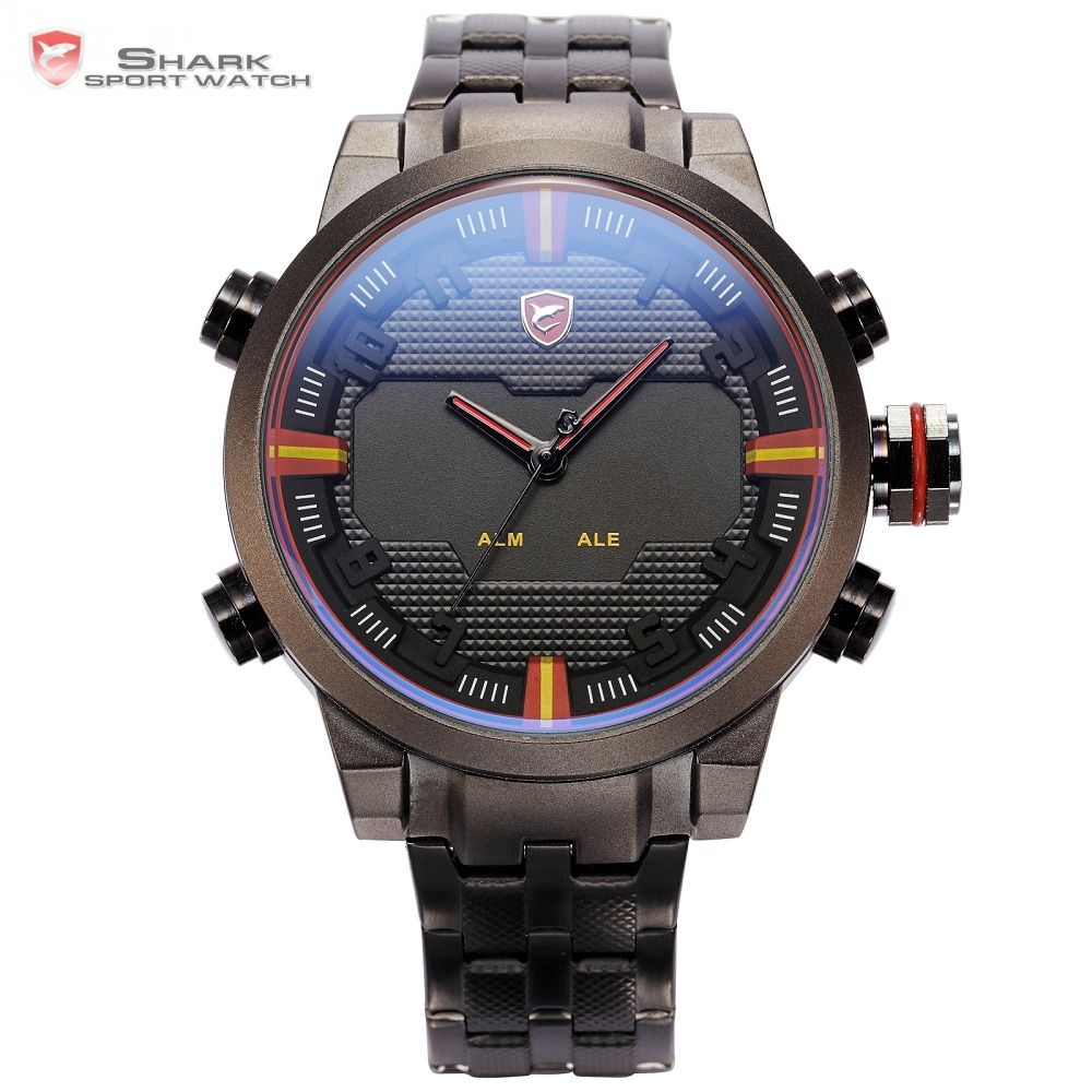 Sawback Angel SHARK Sport Watch Dual Time Digital LED Date Day Analog Black Red Stainless Steel Strap Mens Quartz Watches /SH197
