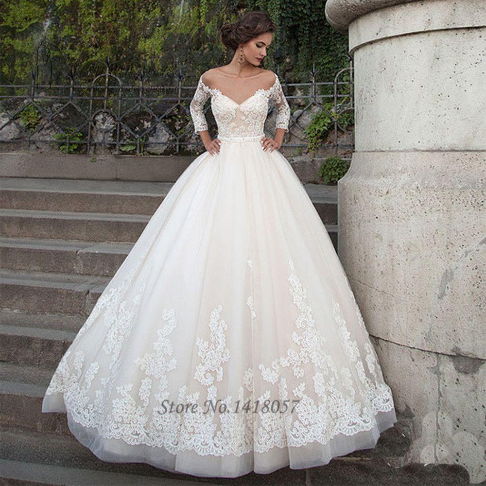 Elegant Arabic Wedding Dresses Turkey Vestidos de Noivas 2016 Lace Bride Dress Princess Wedding Gowns 3/4 Sleeves Abiti Da Sposa