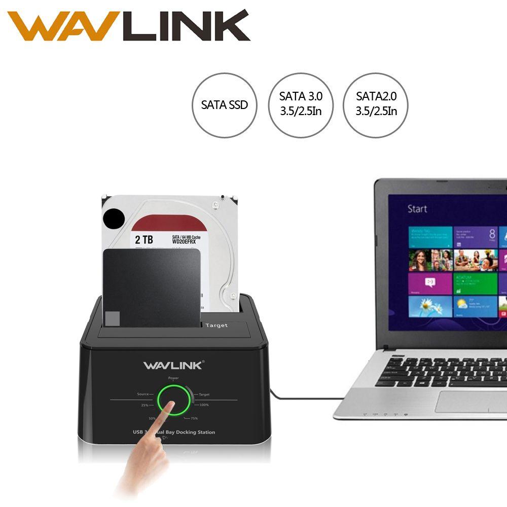 Wavlink USB C 3.1 to SATA Dual Bay External Hard Drive Docking Station for 2.5/3.5