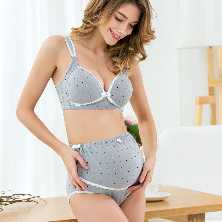 Belva Algodón de Maternidad Bras para Las Mujeres Embarazadas Ropa Interior Conjunto Sujetador de Lactancia Alambre Libre Ropa Breatfeeding Intimates Establece 670