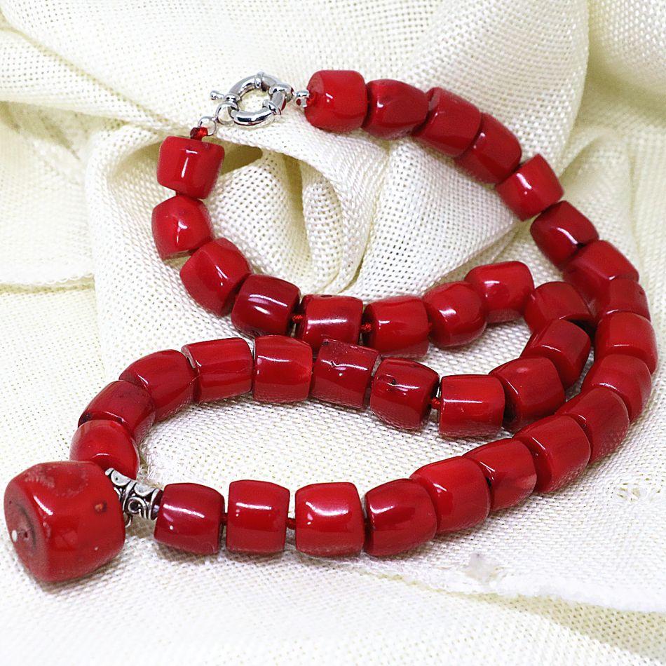 Naturel incroyable cylindre rouge pierre de corail 11-15mm irrégulière charme perles bricolage beau collier faisant 18