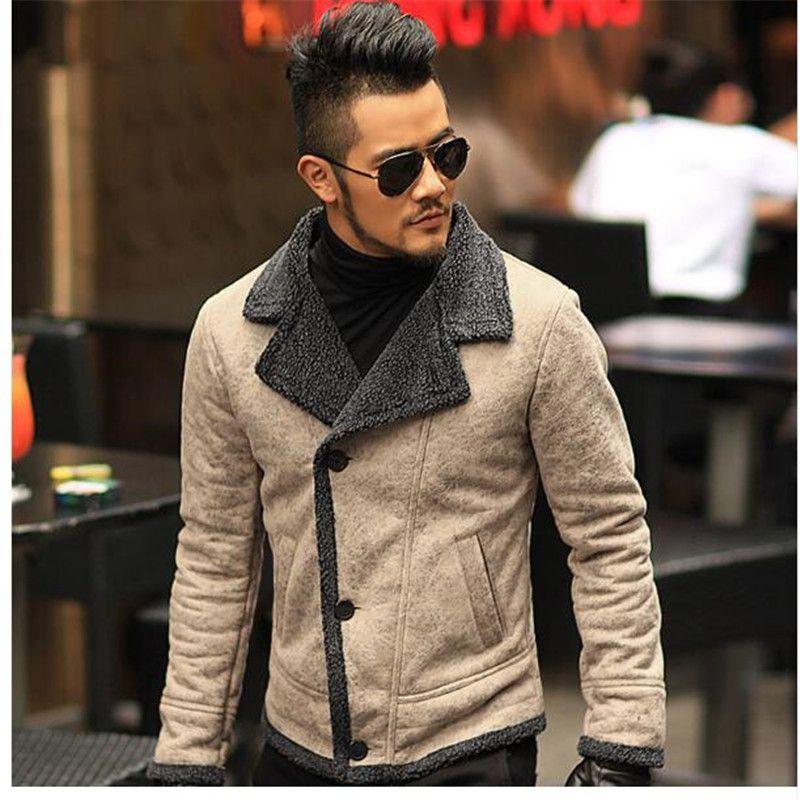 2018 Autumn vintage old leather jacket men wool lining men warm fur collar jacket Mens Faux leather short jacket coat