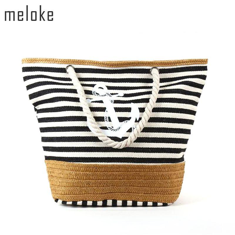 Méloke 2019 sac de plage toile paille sac de plage rayure imprimé toile sac à main corde poignée sangle sac à bandoulière grand fourre-tout MN531