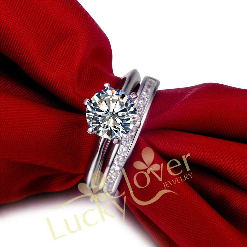 TT Воск установка 3 карат NSCD синтетический камень Обручальное кольцо комплект, свадебный набор, обручальное кольцо Набор для женщин с упаков...
