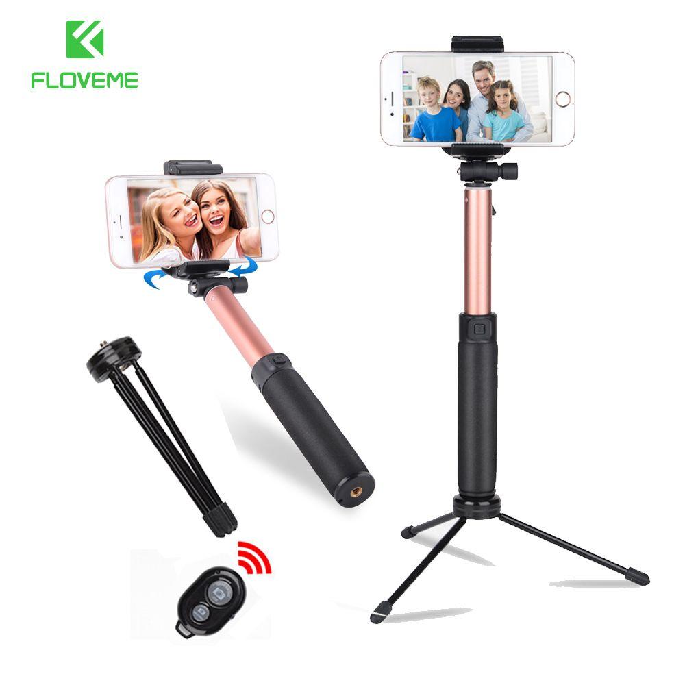 FLOVEME Stativ Selfie Stick Mit Spiegel Für iPhone Xiaomi Universal Bluetooth Selfie Stick Einbeinstativ Stativ Stick Für Smartphone