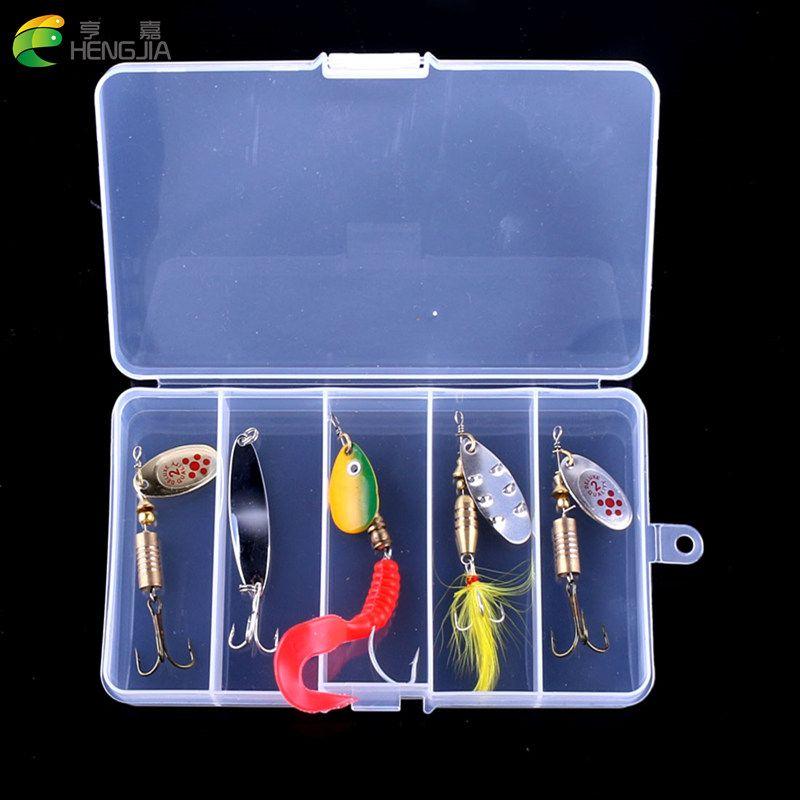 HENGJIA 5 pièces dans une boîte Mélangé Leurres De Pêche Kit Métal Leurres pour Truite Perche Basse Cuillères de Pêche Appâts Durs appât spinner