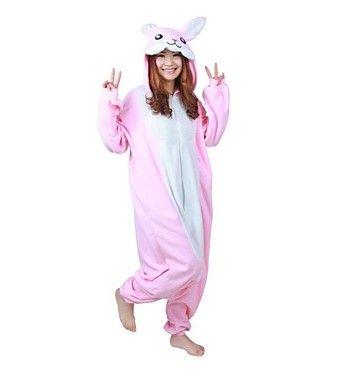 Pijama Rosa Conejo/Del Conejito Leotardo/Onesie Fiesta/Holiday Animal ropa de Noche de Halloween Pink Patchwork Polar Para Unisex